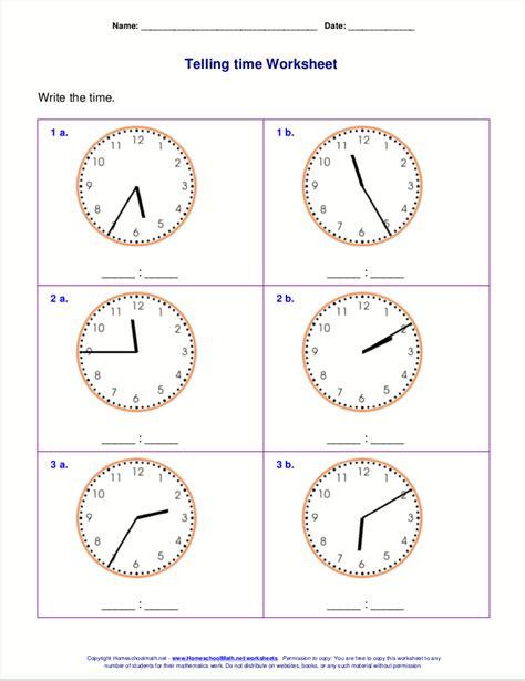 math worksheets  grade  clock