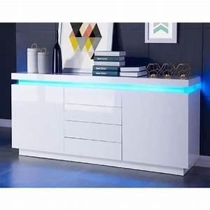 Petit Buffet Salon : flash buffet 175cm blanc laqu avec led bleue achat vente buffet bahut flash buffet 175 cm ~ Teatrodelosmanantiales.com Idées de Décoration