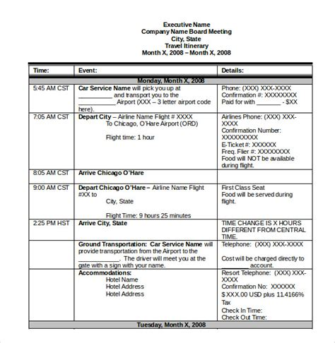 trip itinerary word template itinerary template 15 free word excel pdf documents