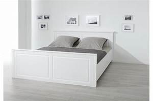Lit Design Bois : lit en bois blanc 160x200 paco lit design pas cher ~ Teatrodelosmanantiales.com Idées de Décoration