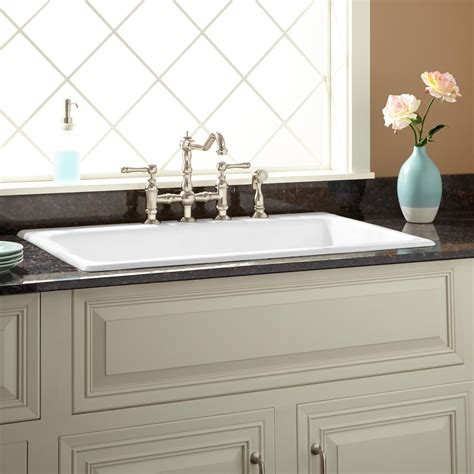 36 quot frattina cast iron drop in kitchen sink kitchen