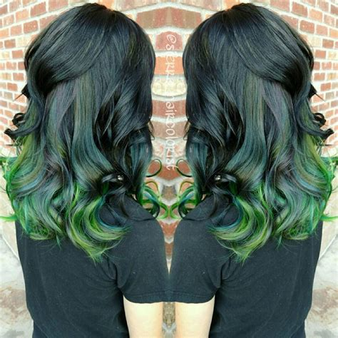 Black To Emerald And Neon Green Ombre Hair Hair Colors Ideas
