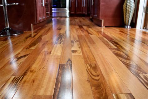 laminate wood floor 4 quot clear prefinished solid tigerwood koa wood