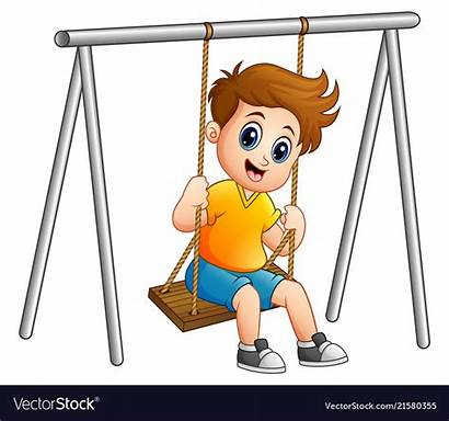 Swing Clipart Vector Boy Playing Kid