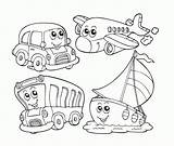 Transportation Coloring Vehicle Clipart Clip Preschool Library Cable Sheets sketch template