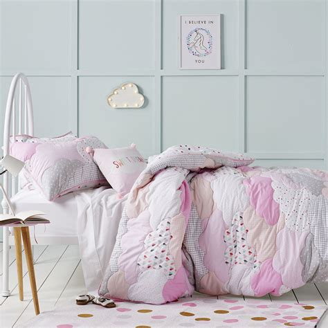 nursery set adairs cloud quilted quilt cover set pink bedroom