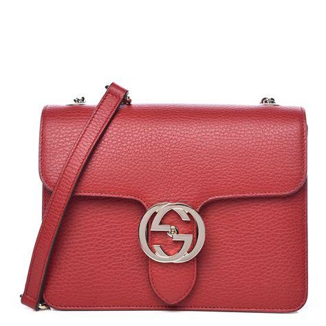 gucci dollar calfskin small interlocking  shoulder bag red  fashionphile