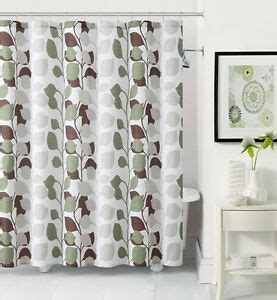 Green And Brown Shower Curtains by Sydney Green Taupe Brown Embossed Leaf Fabric