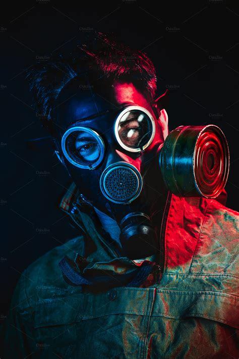 grunge portrait man  gas mask holiday