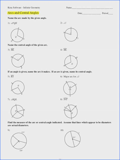 central angles  inscribed angles worksheet answer key