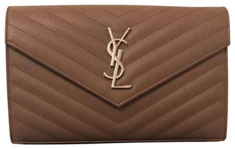 saint laurent crossbody ysl monogram quilted envelope clutchcrossbody taupe calfskin leather