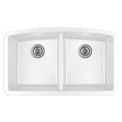 composite kitchen sinks white karran undermount quartz composite 32 in 50 50