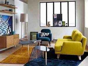 20 salons avec un canape jaune joli place for Canapé convertible scandinave pour noël decoration de salon et salle a manger