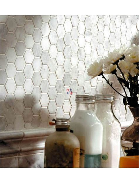 buy carrara white  hexagon polished marble mosaic