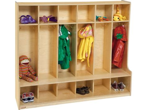 preschool storage furniture wood preschool locker 6 section offset edge pre 51006d 759