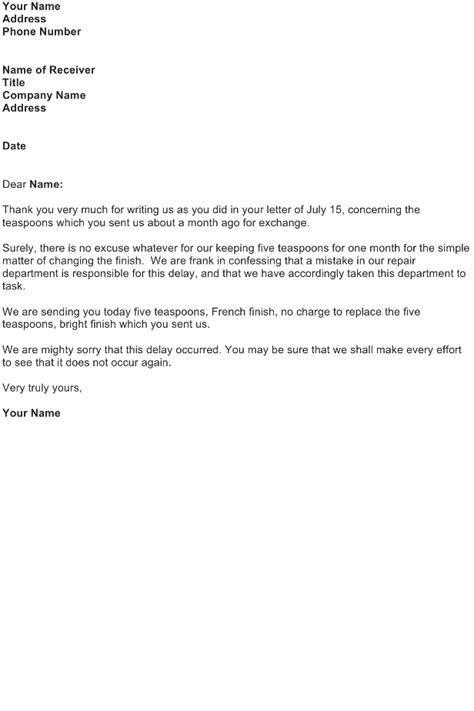 Adjustment Letter Template – Delay Delivery