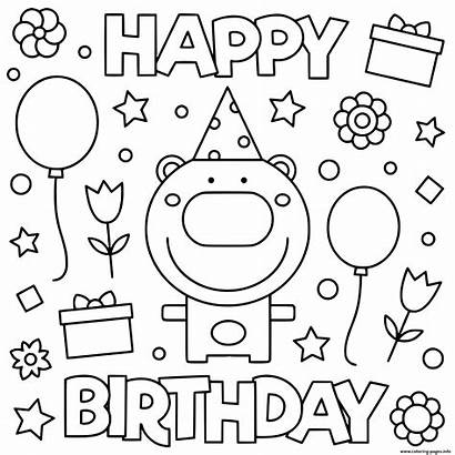 Coloring Birthday Happy Printable Balloon Fun Sheets