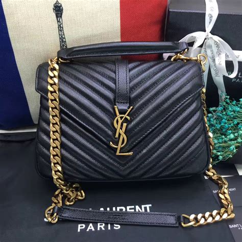 ysl top handle shoulder bag cm black gold  black gold  replica ysl
