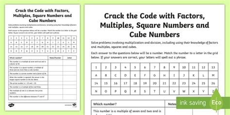 the code with factors multiples squares and cube