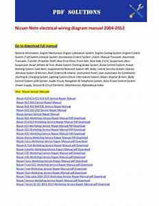 Nissan Note Electrical Wiring Diagram Manual 2004 2012
