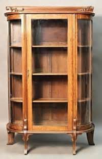 antique oak curved glass display curio china cabinet