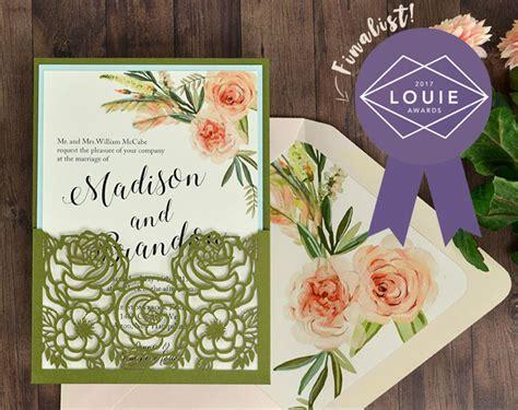 flower bouquet laser pocket invitation  louie awards