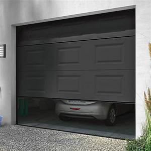 porte de garage sectionnelle motorisee turia anthracite With porte de garage castorama