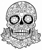 Coloring Skull Sugar Printable Grown Ups sketch template