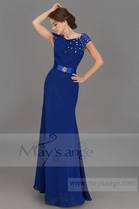 robe bleu roi mariage robe longue de soiree sirene bleu roi avec deux manchettes en dentelle