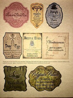 labels  apothecary potion bottles harry potter party