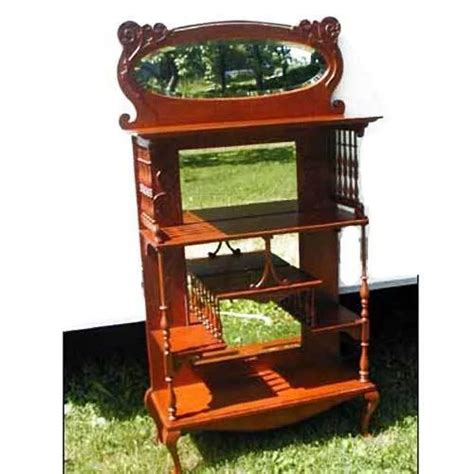 Oak Etagere by Oak Etagere With Gallery And Mirrors Ornate