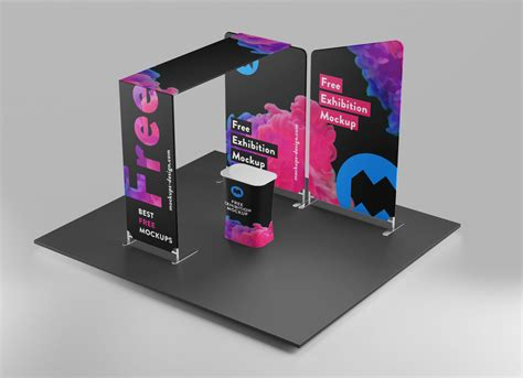 trade show exhibition display stand mockup psd set