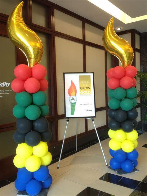 olympic themed balloon columns olympic balloon column