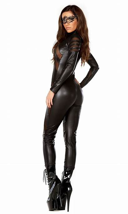 Catsuit Leather Faux Neck Mock Costume Adult
