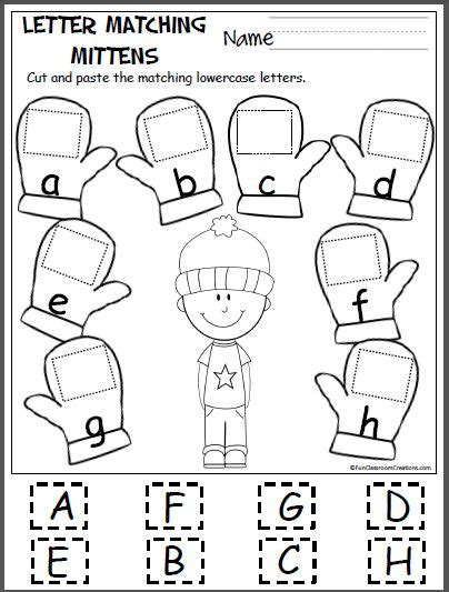 mitten matching letters a h letters and writing skills