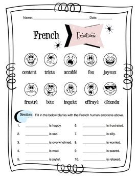French Human Emotions Worksheet Packet by Sunny Side Up ...