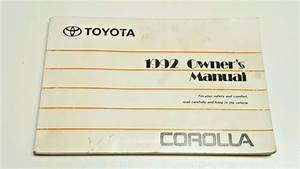 1992 Toyota Corolla Owners Manual Guide V4 1 6l Le Dx Sedan Wagon Fuses Fluids