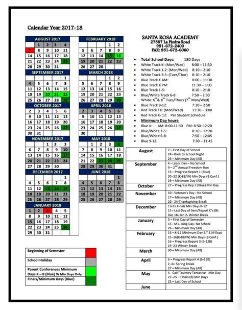 year date calendar santa rosa academy