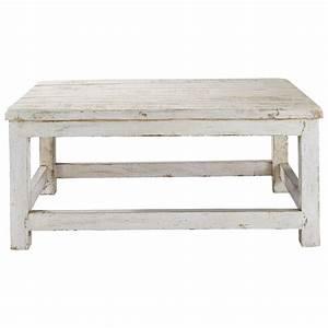 Table Basse Blanc Bois : table de salon en bois blanc table de salon ronde en verre maisonjoffrois ~ Teatrodelosmanantiales.com Idées de Décoration