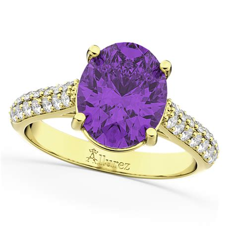 Oval Amethyst & Diamond Engagement Ring 18k Yellow Gold 4