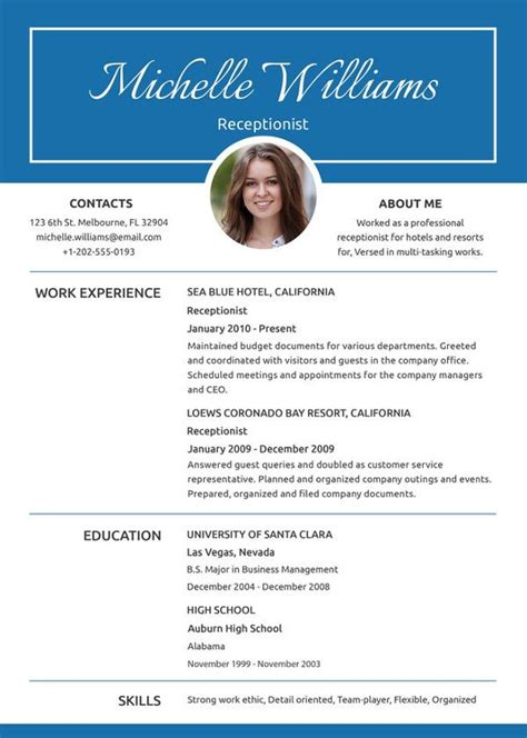 receptionist resume template   word  document