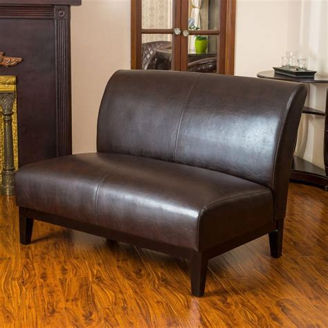 faux leather settee best selling home decor darcy casual brown faux leather