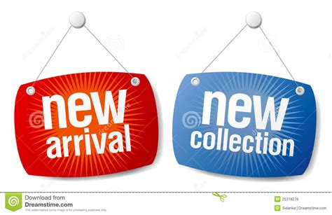 New Free by New Arrival New Collection Signs Stock Vector