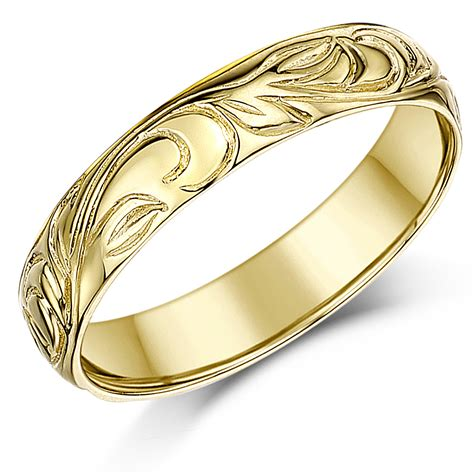 mm ct yellow gold swirl patterned wedding ring band