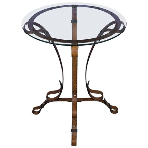 wrought iron end tables with glass tops unique french quot leather quot wrought iron table with glass top