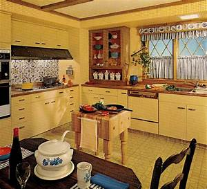 1970s kitchen design - one harvest gold kitchen decorated