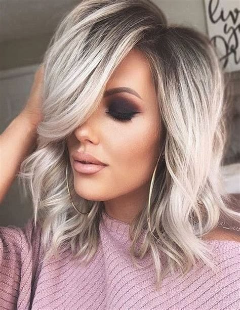 awesome silver shoulder length hairstyles   stylezco