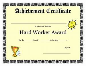printable achievement certificates kids hard worker With certificate templates for pages