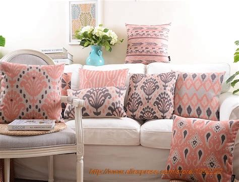 Nordic Red Decorative Pillows,pink Geometry Plaid Series