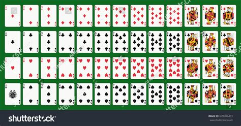 Poker Playing Cards Full Deck Green Stock Vector 670789453